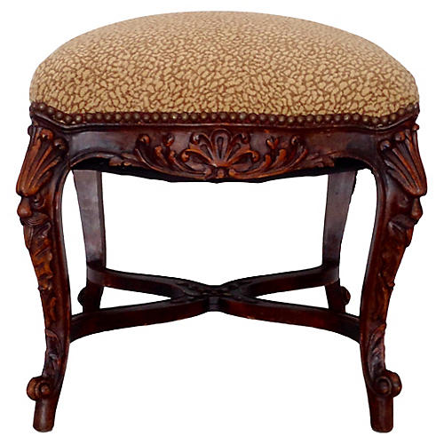 Italian Carved Walnut Stool