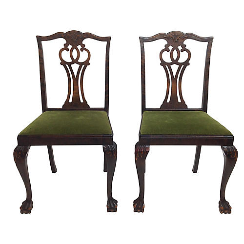 Claw-Foot Side Chairs, Pair