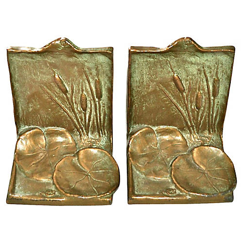 Cattail & Lily Pad Bookends