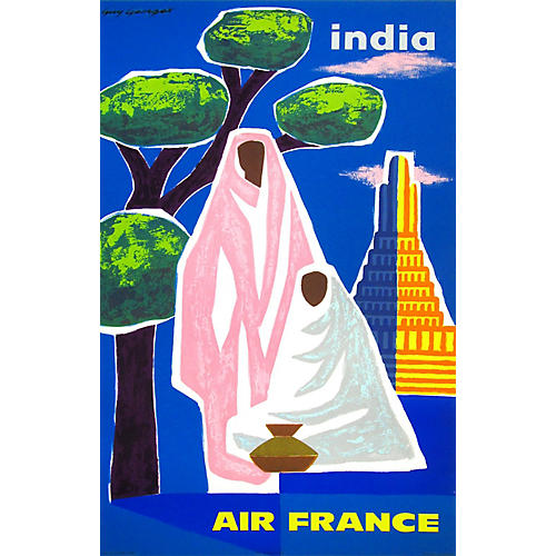 India Air France Travel Poster