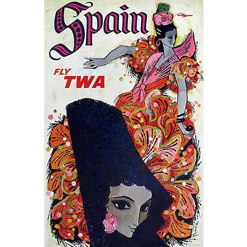 TWA Spain Travel Poster