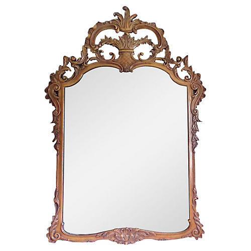 Large Ornate Italian Hand-Carved Mirror