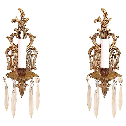 French Regency-Style Brass Sconces, Pair