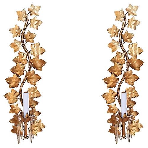 Regency Gilt Leaf Sconces, S/2