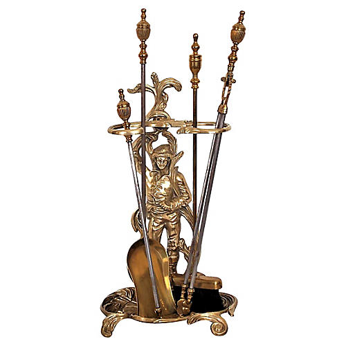 English Brass Fireplace Set