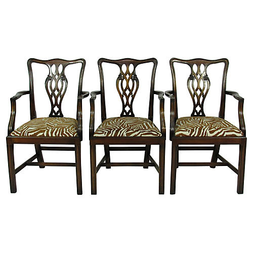 Chippendale-Style Armchairs, S/3