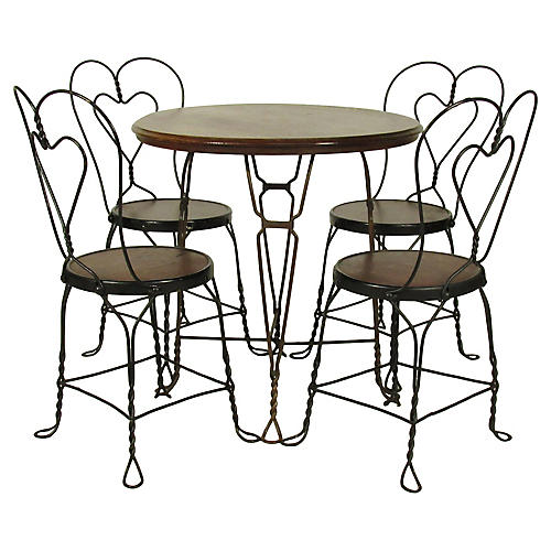 Ice Cream Parlor Set, Table/Four Chairs