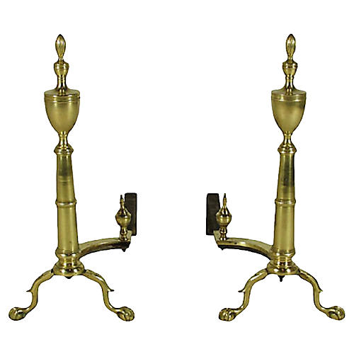 19th-C. Georgian-Style Andirons, Pair