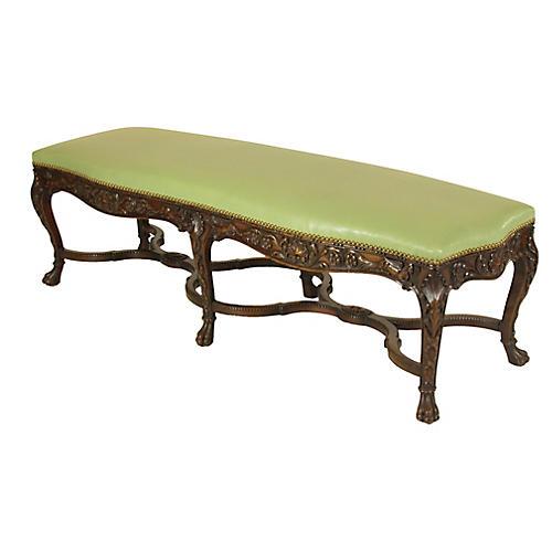 19th-C. Italian Rococo Walnut Bench