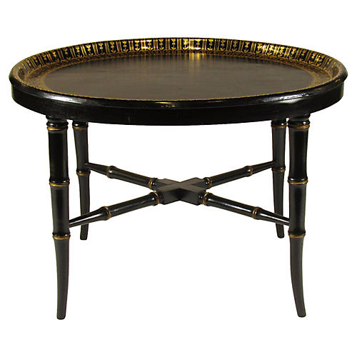 19th-C English Edwardian Tray on Stand