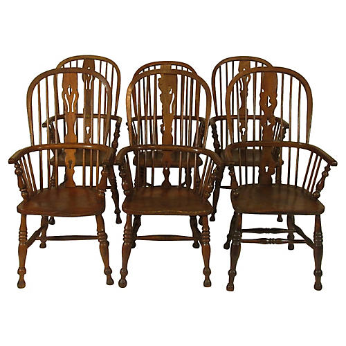 18th-C. English Windsor Chairs, Set/6