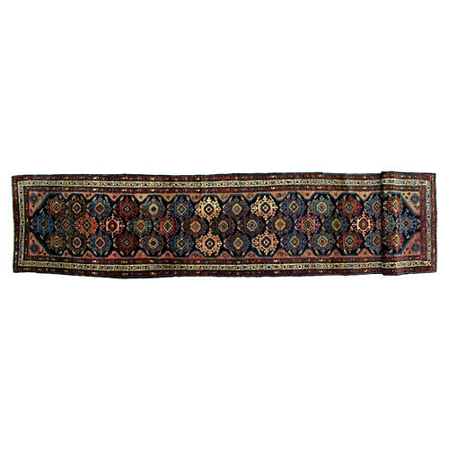 Antique Hamadan Runner, 3' x 13'8""