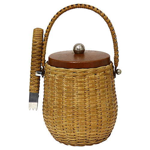 Midcentury French Wicker Ice Bucket