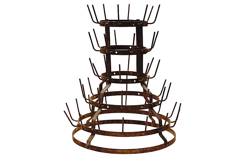 Antique French Bottle Drying Rack