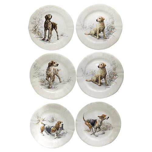 Gien Sologne Dog Salad Plates, S/6