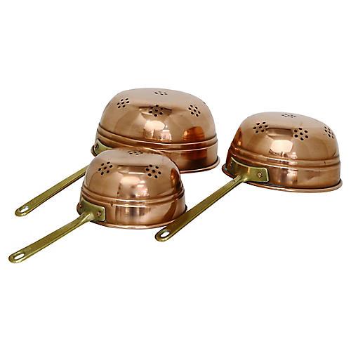 English Copper Colanders, S/3