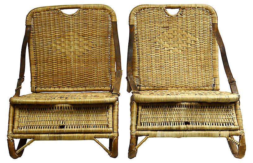 Midcentury Wicker Picnic Chairs, Pair
