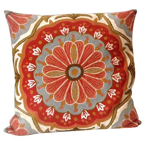 Floral Crewelwork Pillow