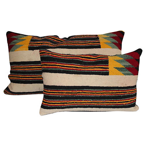Native American Weaving Pillows, Pair
