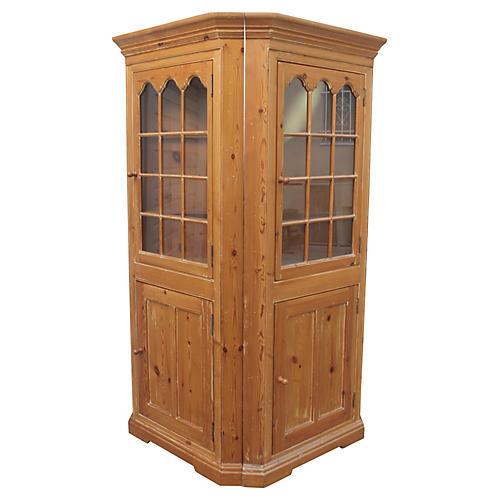 Pine Corner Cupboards, S/2