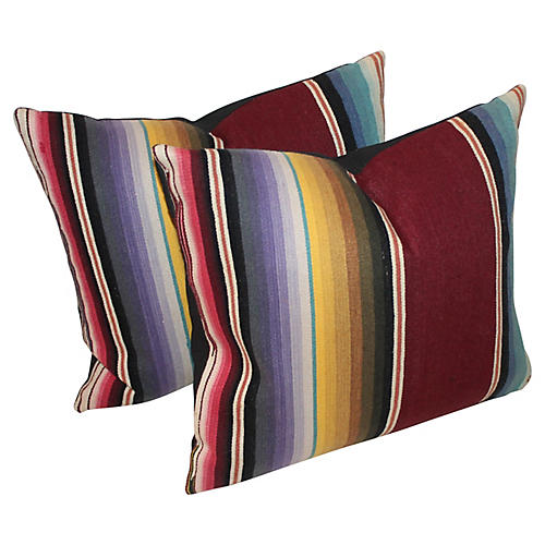 Vibrant Serape Pillows, Pair