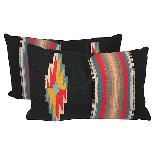 Navajo-Style Weaving Pillows, Pair