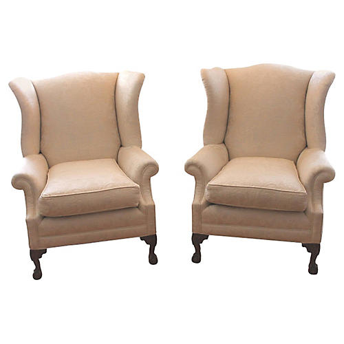 Monumental Damask Wing Chairs, Pair