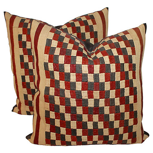 Postage Stamp Kuba Pillows, Pair