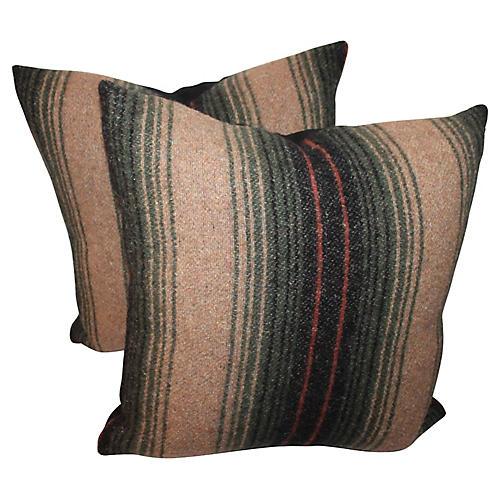 Striped Horse Blanket Pillows, Pair