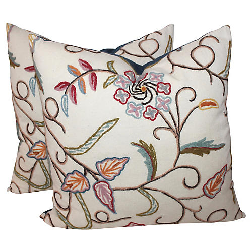 Pair of Crewelwork Pillows