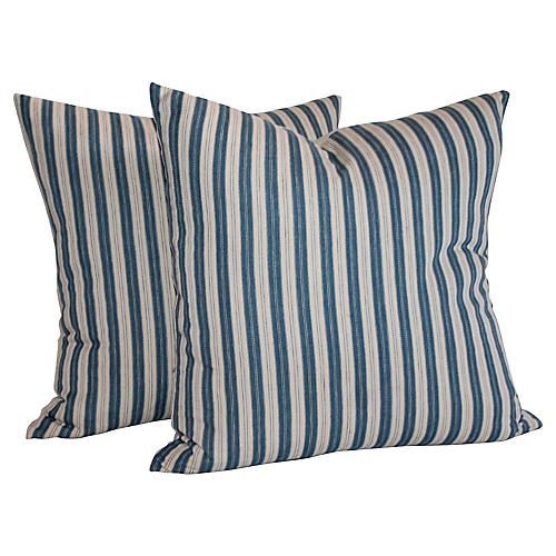 Pair of Striped Ticking Pillows