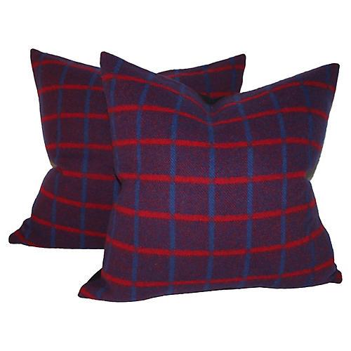 Striped Plaid Pillows, Pair