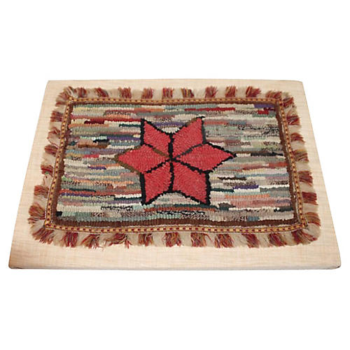 19th-C. Mounted Mini Star Rug