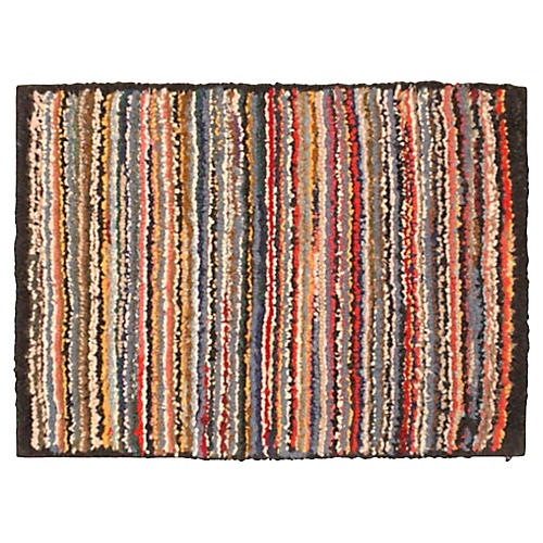 1930s Striped Hand-Hooked Rug or Mounted