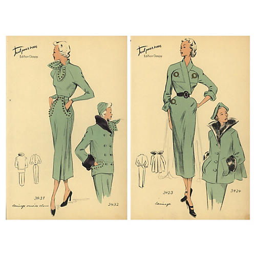 Pair of French Fashion Prints, 1950