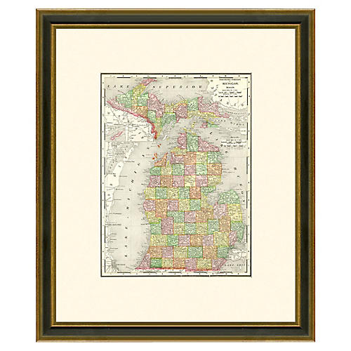Framed Antique Map of Michigan 1886-1899