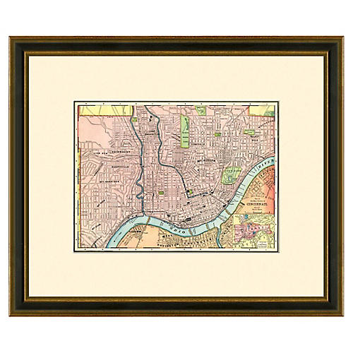Framed Antique Cincinnati Map, 1886-1889