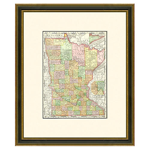 Framed Antique Minnesota Map, 1886-1899