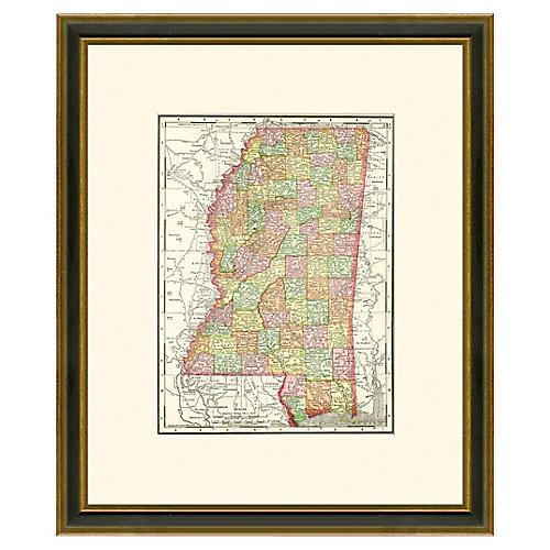 Framed Antique Mississippi Map 1886-1899