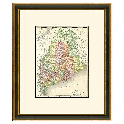 Framed Antique Map of Maine, 1886-1899