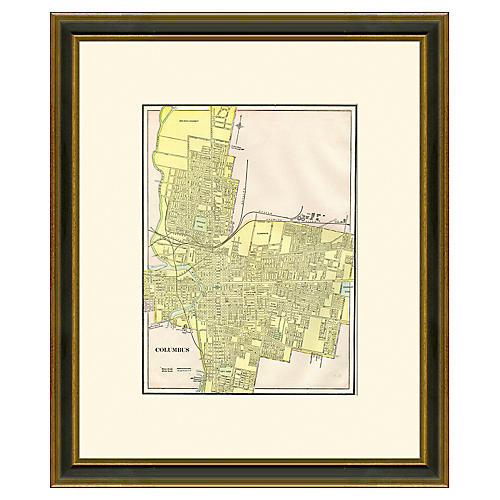 Framed Map of Columbus, 1894-1899
