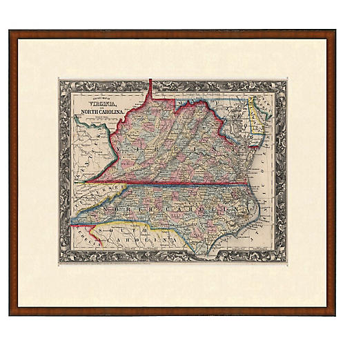 Framed Antique Virginia and NC Map 1853