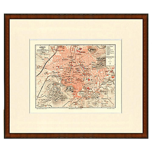 Framed Antique Map of Athens, 1899