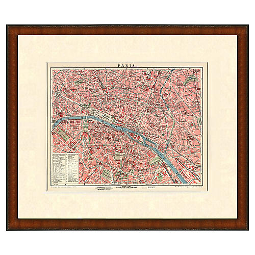 Framed Antique Map of Paris 1899