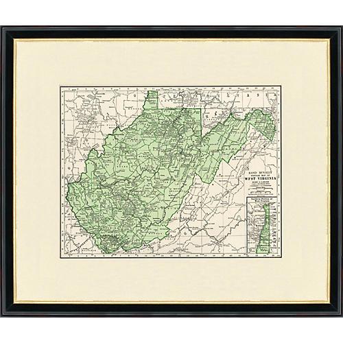Framed Antique Map of West Virginia 1937