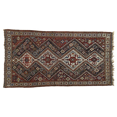 Antique Qashqai Rug, 4' x 8'