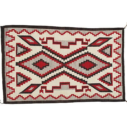 """Antique Navajo-Style Rug, 4' x 6'7"""""""