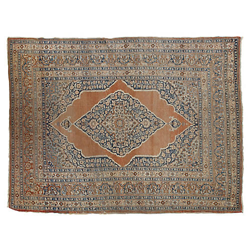 "Antique Tabriz Rug, 4'2""x5'7"""