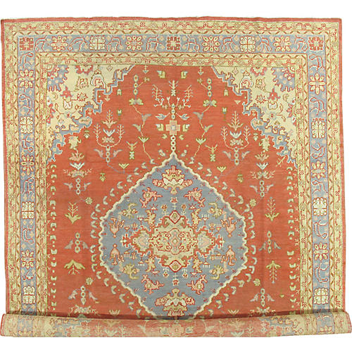 """Antique Oushak Carpet, 10'5"""" x 13'7"""""""