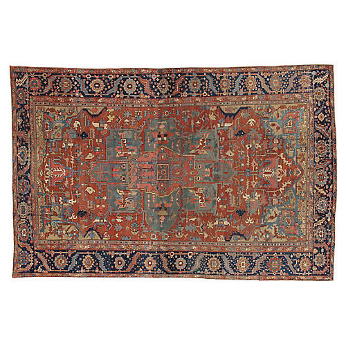 "Antique Heriz Carpet, 10'6"" x 16'"